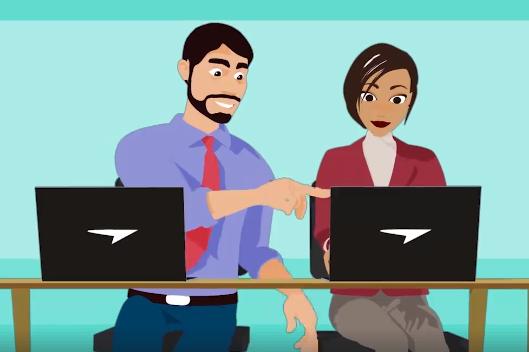 Arte de um homem e uma mulher sentados um ao lado do outro olhando para a tela de um laptop.