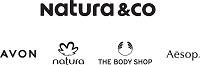 Logo da Natura &CO no topo, e logo abaixo os logos da Avon, Natura, The Body Shop e Aesop