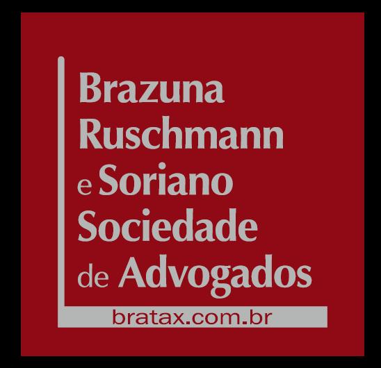 """Arte em fundo vermelho e o texto em cinza """"Brazuna Ruschman e Soriano Sociedade de Advogados bratax.com.br"""""""