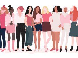 Ilustração de um grupo de 9 mulheres diversas, alinhadas lado a lado