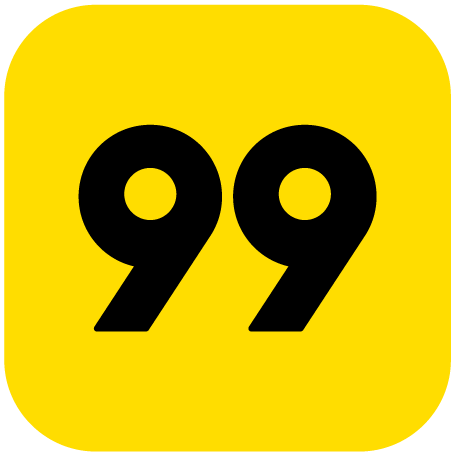 Logo da 99 com fundo amarelo num quadrado de ângulos arredondados e o número 99 no centro, fonte preta.