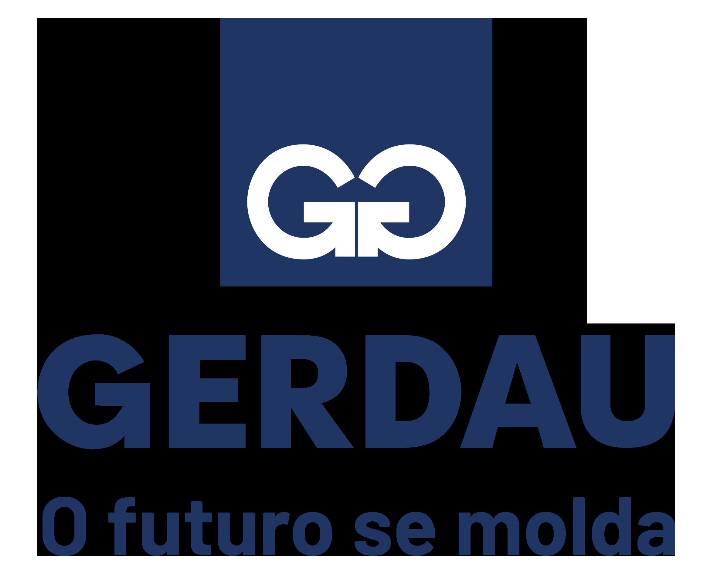 Logo da Gerdau do Brasil em azul marinho, com o texto Gerdau, o futuro se molda