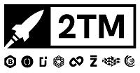 Logo da 2TM com um foguete à esquerda do nome, e logo abaixo os logos de todas as empresas que fazem parte do grupo