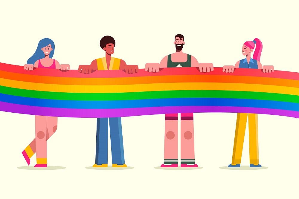 Arte em fundo branco com a ilustração de duas mulheres e dois homens segurando uma bandeira com as cores do arco-íris, que representa a bandeira do orgulho LGBTQI+