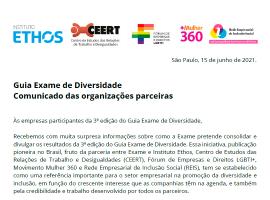 Print da nota divulgada pelas organizações parceiras do Guia Exame de Diversidade