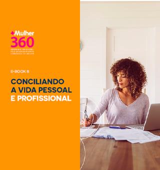 """Arte com lado esquerdo com a cor laranja e o texto """"Ebook 8 Conciliando a vida pessoal e profissional"""" e à direita há a foto de uma mulher negra com um laptop em cima de uma mesa"""