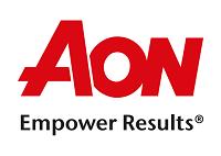 """Logo da AON, com fonte em vermelho e preto, e a frase em inglês """"Empower Results"""""""