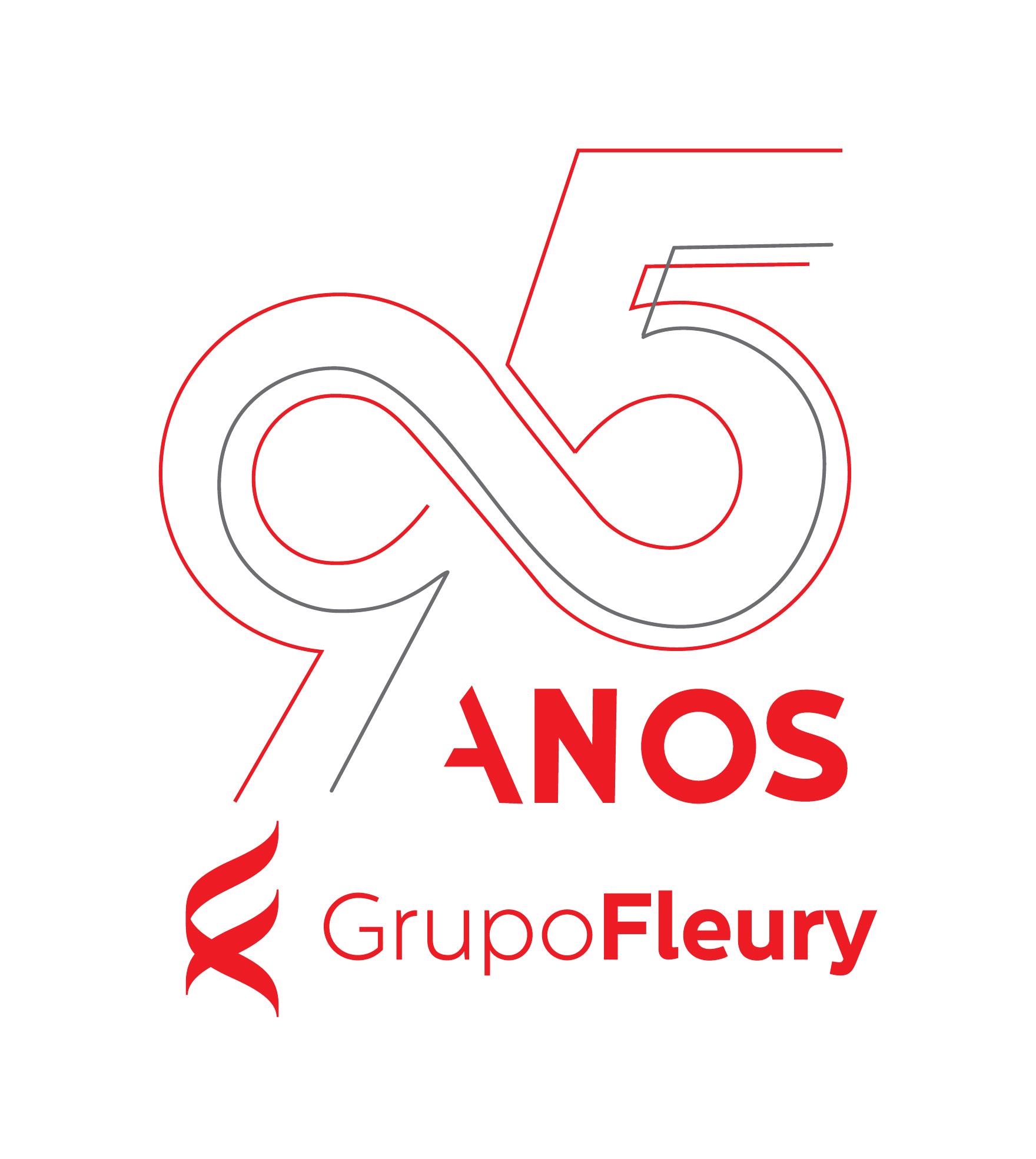 Logo do Grupo Fleury, indicando 95 anos numa arte com grafismos