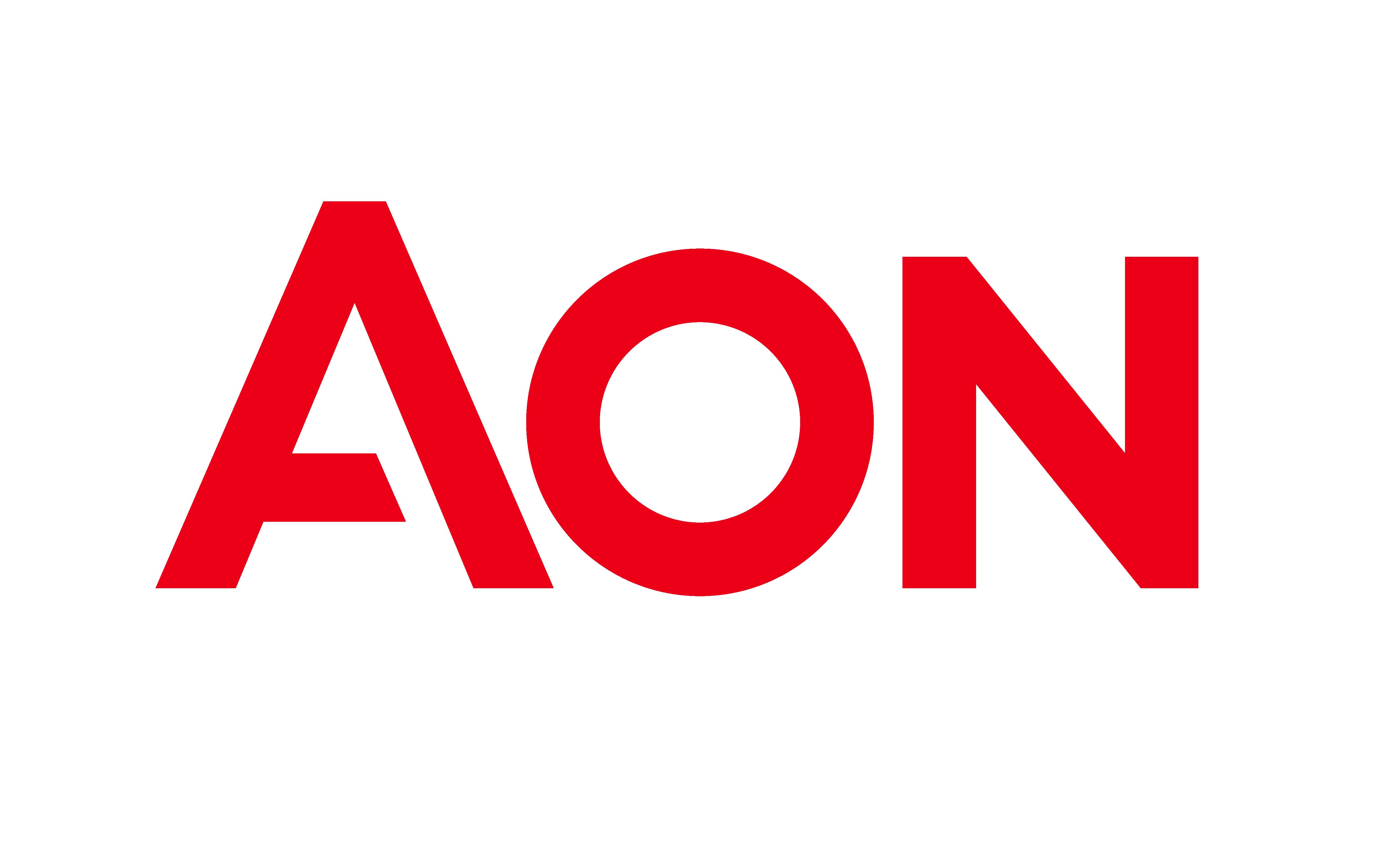 Logo da AON com as fontes em vermelho no fundo branco